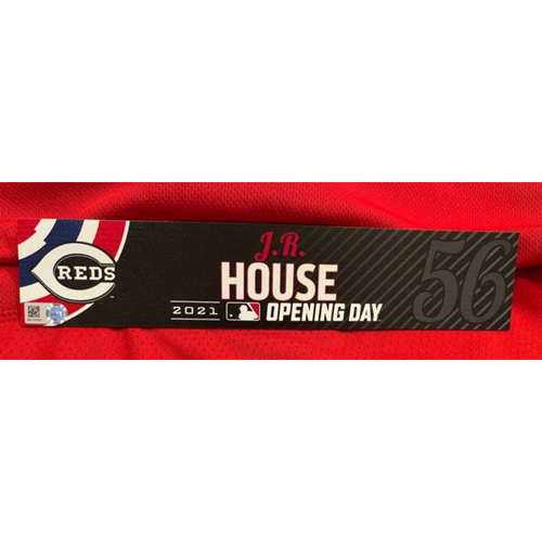 Photo of J.R. House -- 2021 Opening Day Locker Tag -- Game-Used -- Cardinals vs. Reds on 4/1/21