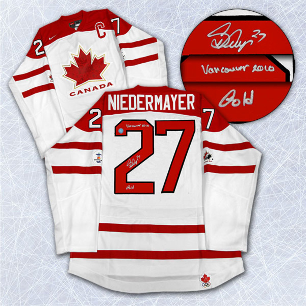 SCOTT NIEDERMAYER Team Canada SIGNED Jersey w 2010 Gold