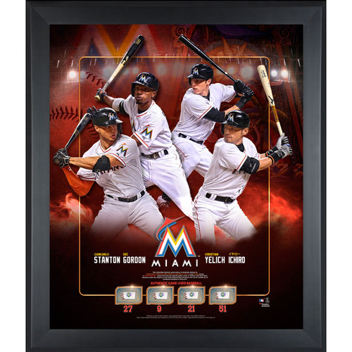 4 Player Frame with Game-Used Baseballs