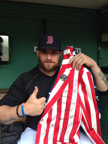 Jonny Gomes American Flag Jacket Worn at the White House - Autographed by the 2014 Red Sox