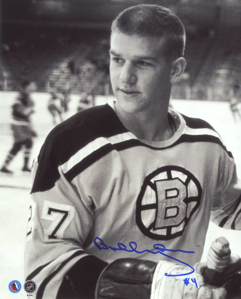 Bobby Orr - Signed 8x10 Bruins Rookie wearing #27 - B/W