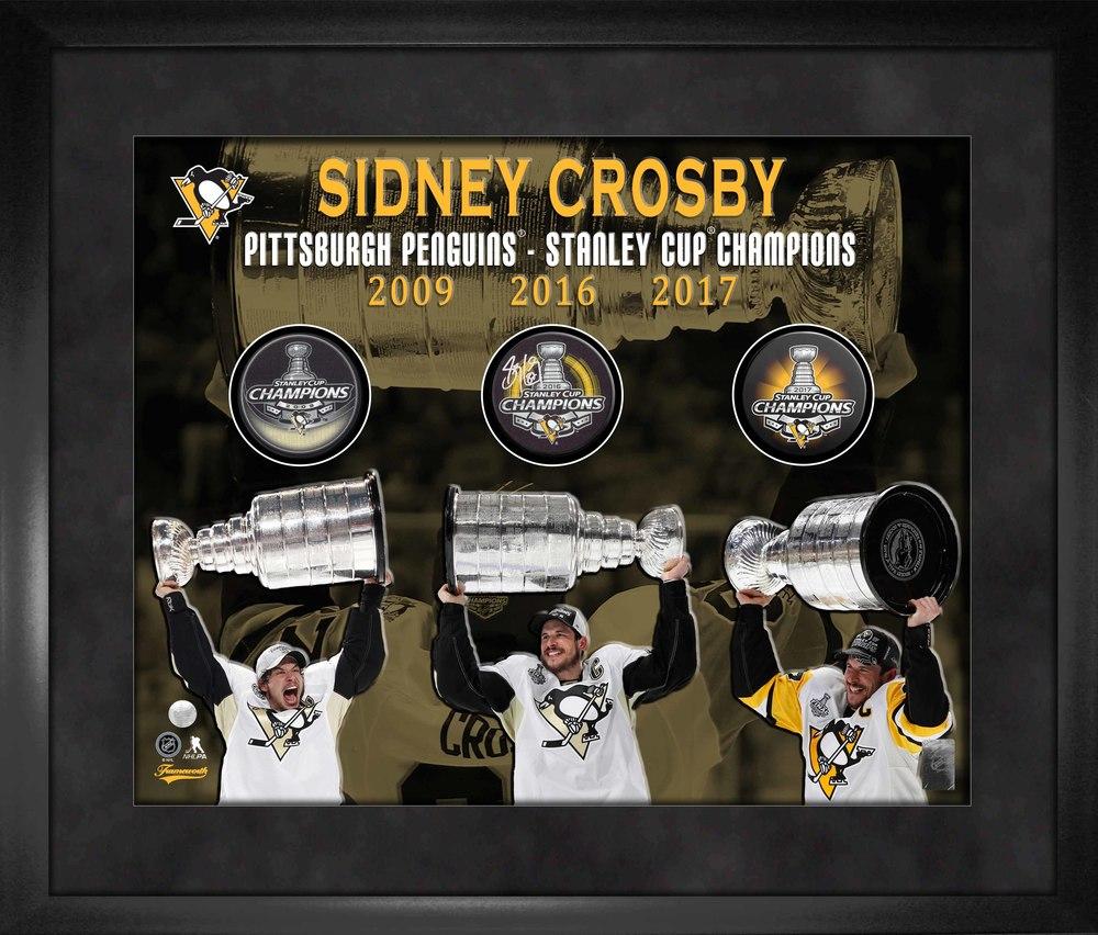 Sidney Crosby Signed Amp Framed Triple Puck Frame 3 Time