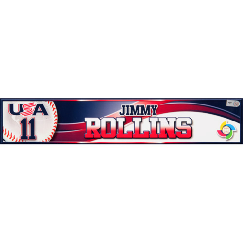 2013 WBC: USA Game-Used Locker Name Plate - #11 Jimmy Rollins