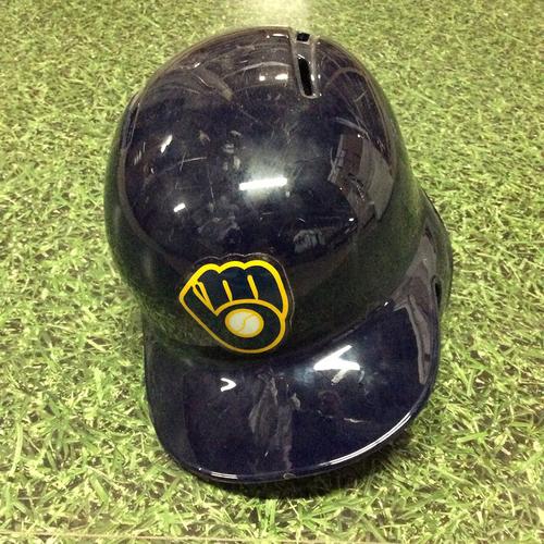 Photo of Corey Knebel 2016 Navy Ball&Glove Logo Batting Helmet