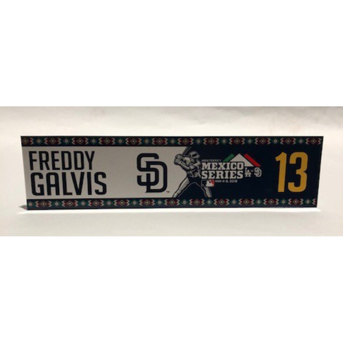 Photo of 2018 Mexico Series - Freddy Galvis Game-Used Locker Tag