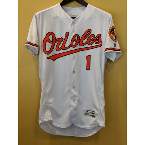 Photo of Tim Beckham Game-Used Home Jersey, Worn on September 29, 2018 vs Houston. Beckham went 2-4 with 1 Run Scored. Size 44.