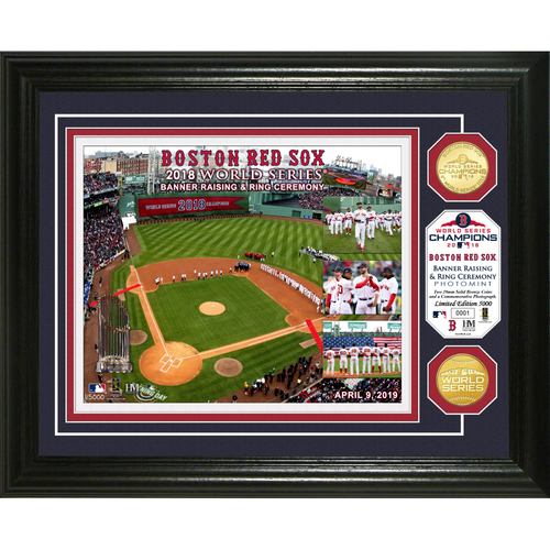 Photo of Boston Red Sox Banner Raising Bronze Coin Photo Mint