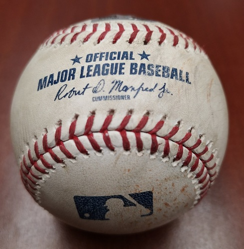 Photo of Authenticated Game Used Baseball - Double by Jackie Bradley Jr. against Daniel Hudson (May 22, 19 vs BOS). Top 7