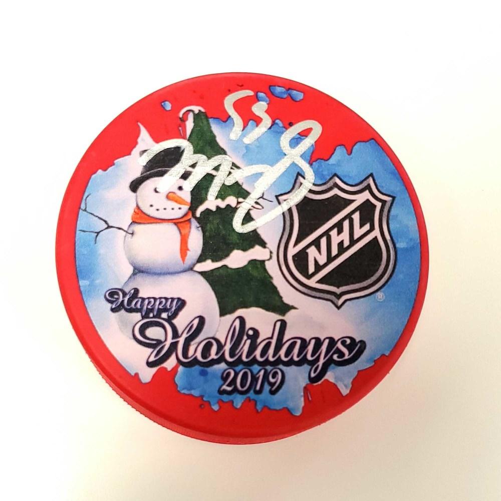 Mark Scheifele Winnipeg Jets Autographed 2019 Inglasco Happy Holidays Hockey Puck - NHL Auctions Exclusive