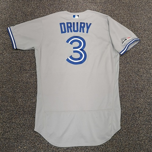 Photo of Authenticated Game Used Jersey - #3 Brandon Drury (Used for 4 Different HR Games in 2019). Size 44.