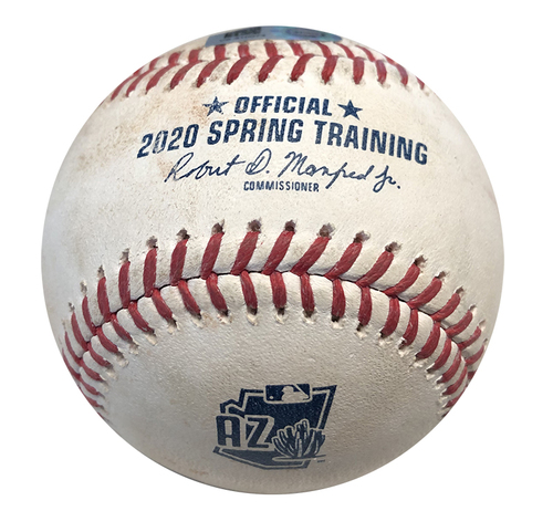 Photo of Game-Used Baseball -- Yu Darvish to Brian Dozier, Foul Ball, Top 1 -- Padres vs. Cubs -- Last Spring Training Cubs game before COVID-19 Cancellation --  Cactus League 2020 -- 3/11/20