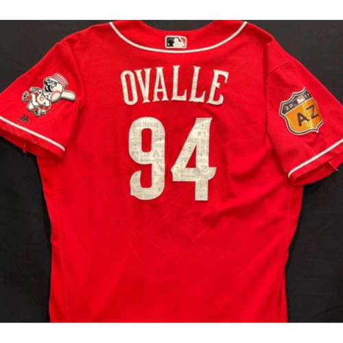 Photo of OVALLE -- Authentic Reds Jersey -- $1 Jersey Auction -- $5 Shipping -- Size 46 (Not MLB Authenticated)