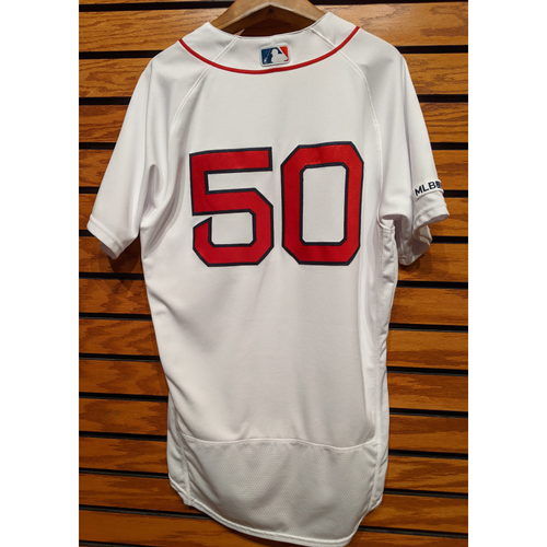 Photo of Mookie Betts #50 Game Used Home White Jersey