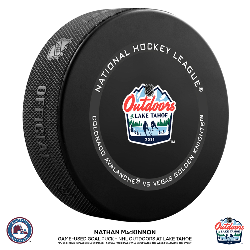Nathan MacKinnon Colorado Avalanche Game-Used Goal Puck from the NHL Outdoors at Lake Tahoe on February 20, 2021 vs. Vegas Golden Knights