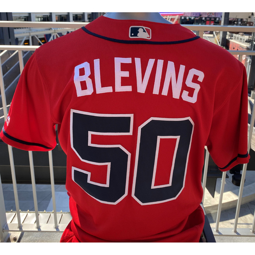 Photo of Jerry Blevins Game-Used Los Bravos Red Jersey