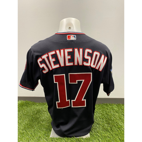 Photo of Team-Issued Andrew Stevenson 2019 Navy Script Jersey with Postseason Patch