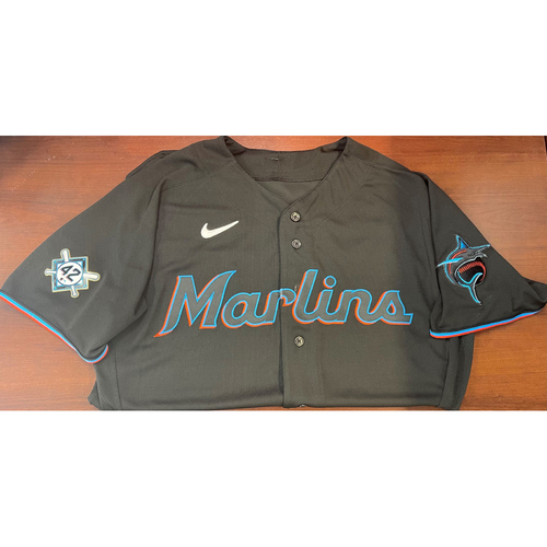 Photo of Miami Marlins Jackie Robinson Commemorative Game-Used Zach Pop Size 48 Jersey