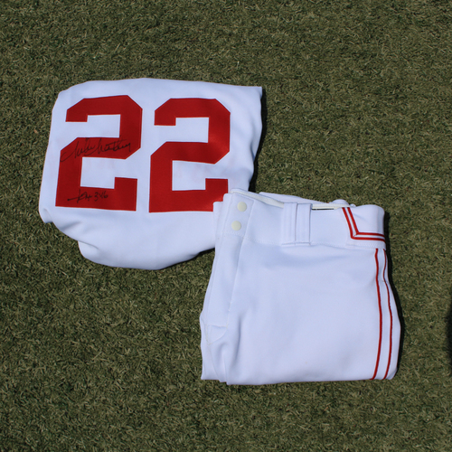 Photo of Game-Used & Autographed Monarchs Jersey & Game-Used Pants: Mike Matheny #22 (DET @ KC 5/23/21) - Size 48