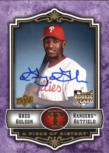 Photo of 2009 UD A Piece of History Rookie Autographs Violet #119 Greg Golson