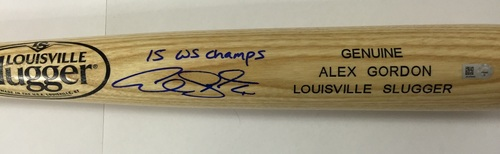 "Photo of Alex Gordon Autographed ""15 WS Champs"" Blonde Louisville Slugger Name Engraved Bat"