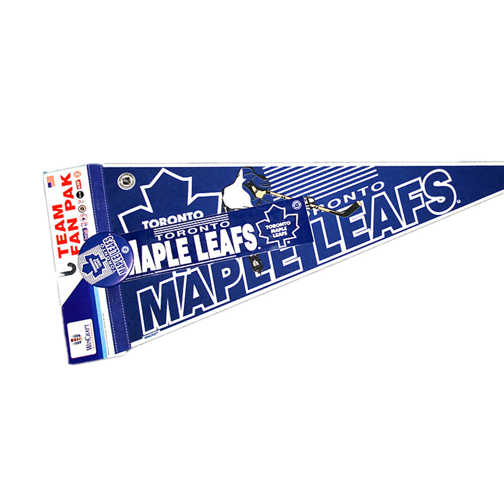 Vintage NHL Official TORONTO MAPLE LEAFS Fan Pack - Pennant, Bumper Sticker & Badge - NOS