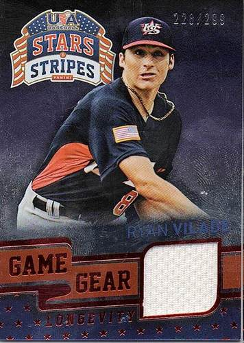 Photo of 2015 USA Baseball Stars and Stripes Game Gear Materials Longevity Ruby #87 Ryan Vilade/299