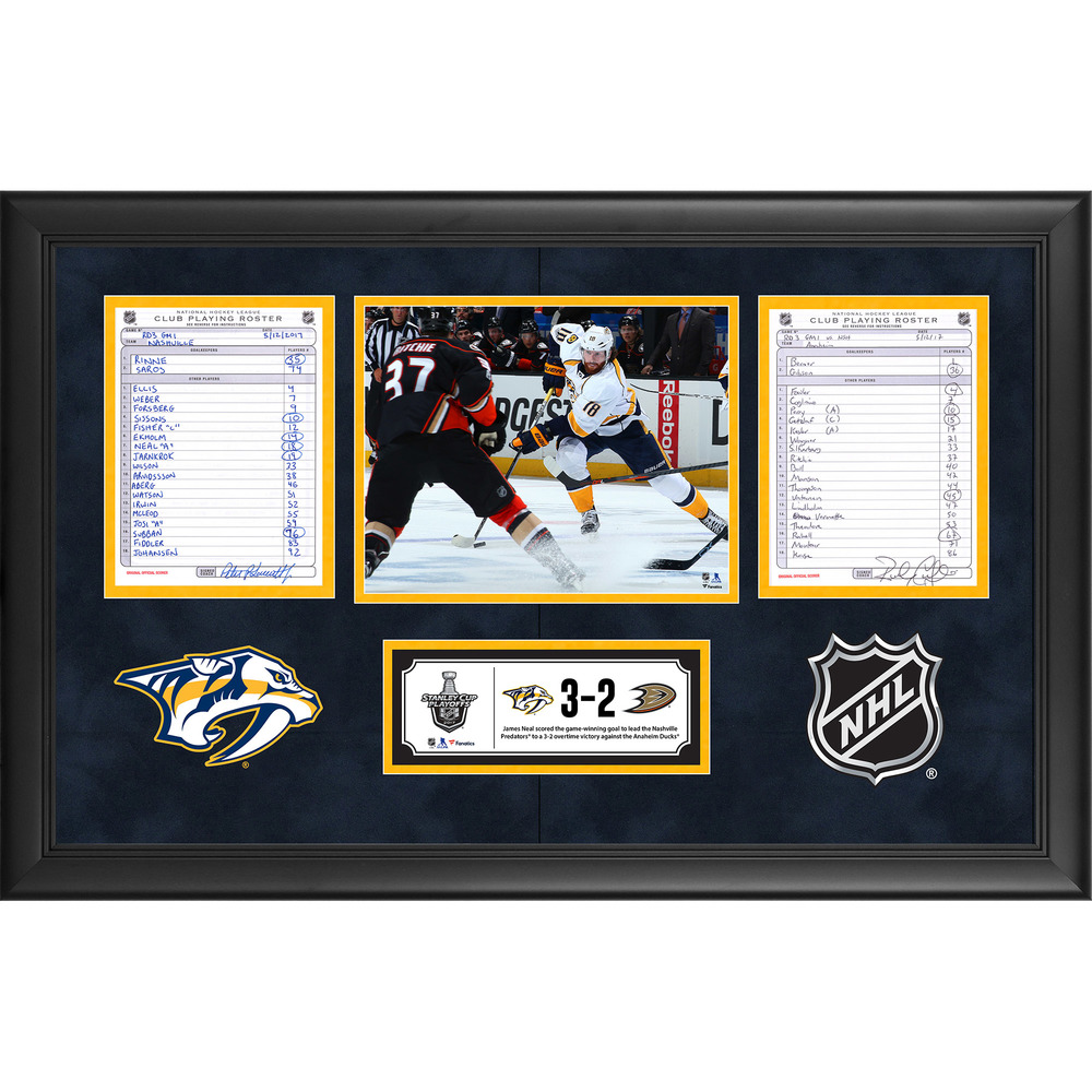Nashville Predators Framed Game-Used Playoffs WCF Game 1 Line-Up Cards, May 12, 2017 vs. Anaheim Ducks - James Neal's Overtime Game-Winning Goal