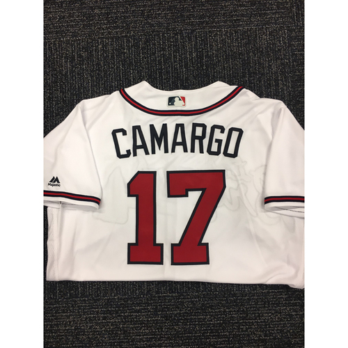 Photo of Johan Camargo Autographed, Game Used Los Bravos Jersey