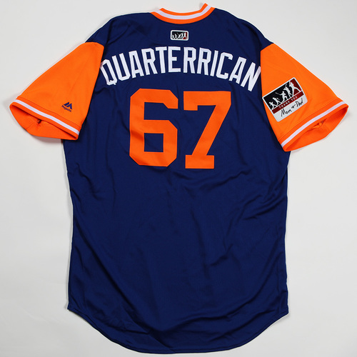 """Photo of Seth """"Quarterrican"""" Lugo New York Mets Game-Used Jersey 2018 Players' Weekend Jersey"""