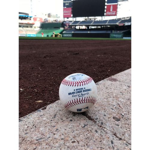 Photo of Game-Used Max Scherzer Strikeout Ball from 300th Strikeout Game