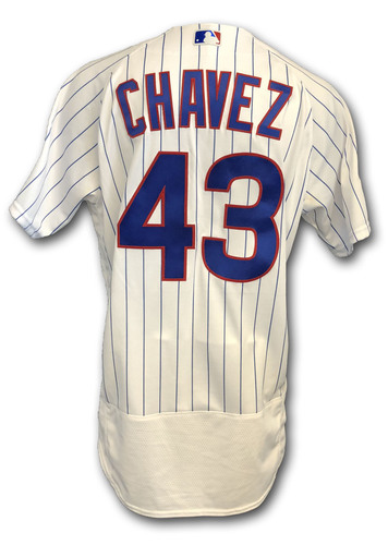 Photo of Jesse Chavez Game-Used Jersey -- Rockies vs. Cubs -- 10/2/18 -- 2018 Postseason Wild Card