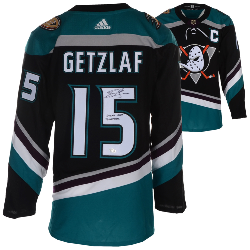 Ryan Getzlaf Anaheim Ducks Autographed Black/Teal Alternate Adidas Authentic Jersey with Ducks Fly Together Inscription