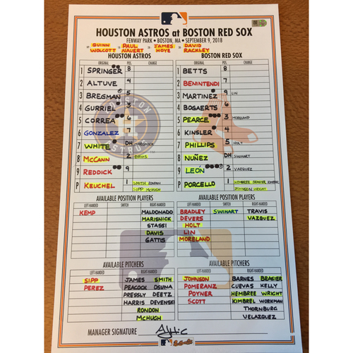 Photo of 2018 Game-Used Lineup Card - 9/9/18 at BOS