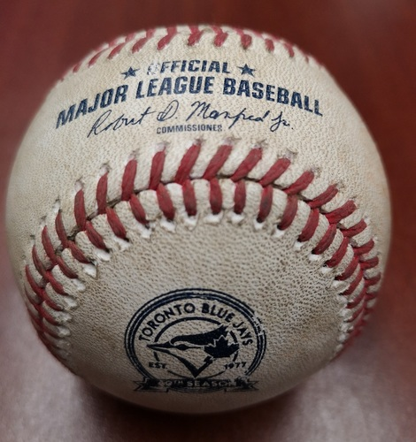 Photo of Authenticated Game Used Canada Day Baseball - Pitch in the Dirt from Marcus Stroman to Carlos Santana (July 1, 2016 vs CLE). Top 3. The game went 19 innings.