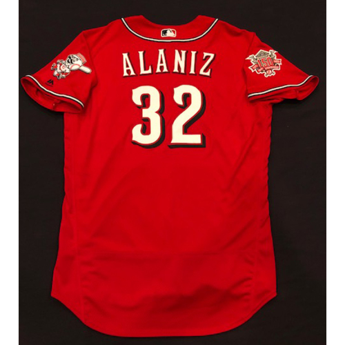 "Photo of R.J. Alaniz -- Game-Used ""Los Rojos"" Jersey (Relief Pitcher: 0.1 IP, 0 R, 1 K) -- D-backs vs. Reds on 9/6/19 -- Jersey Size 48"