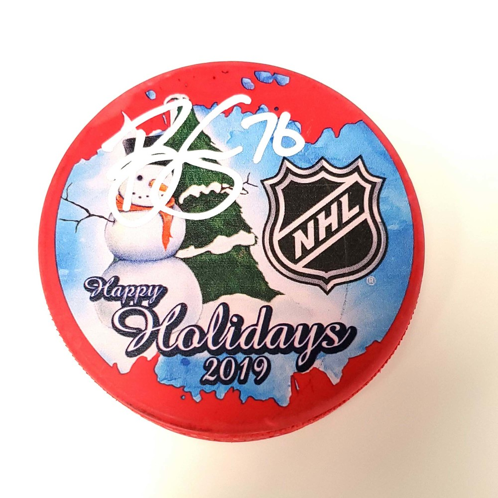 Brady Skjei New York Rangers Autographed 2019 Inglasco Happy Holidays Hockey Puck - NHL Auctions Exclusive