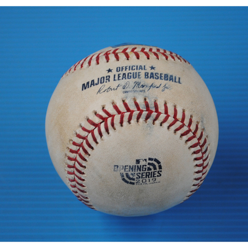 Photo of 2019 Japan Opening Series Game-Used Baseball: Batter - Tim Beckham, Pitcher - Lou Trivino - Top of 8th, Double - 3/21/19