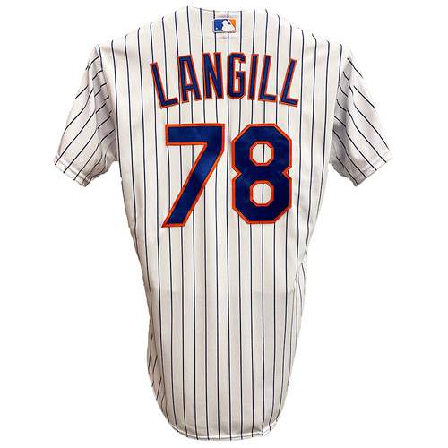 Photo of Eric Langill #78 - Game Used White Pinstripe Jersey with 2015 Postseason Patch - NLDS Game 4 - Mets vs. Dodgers - 10/13/15