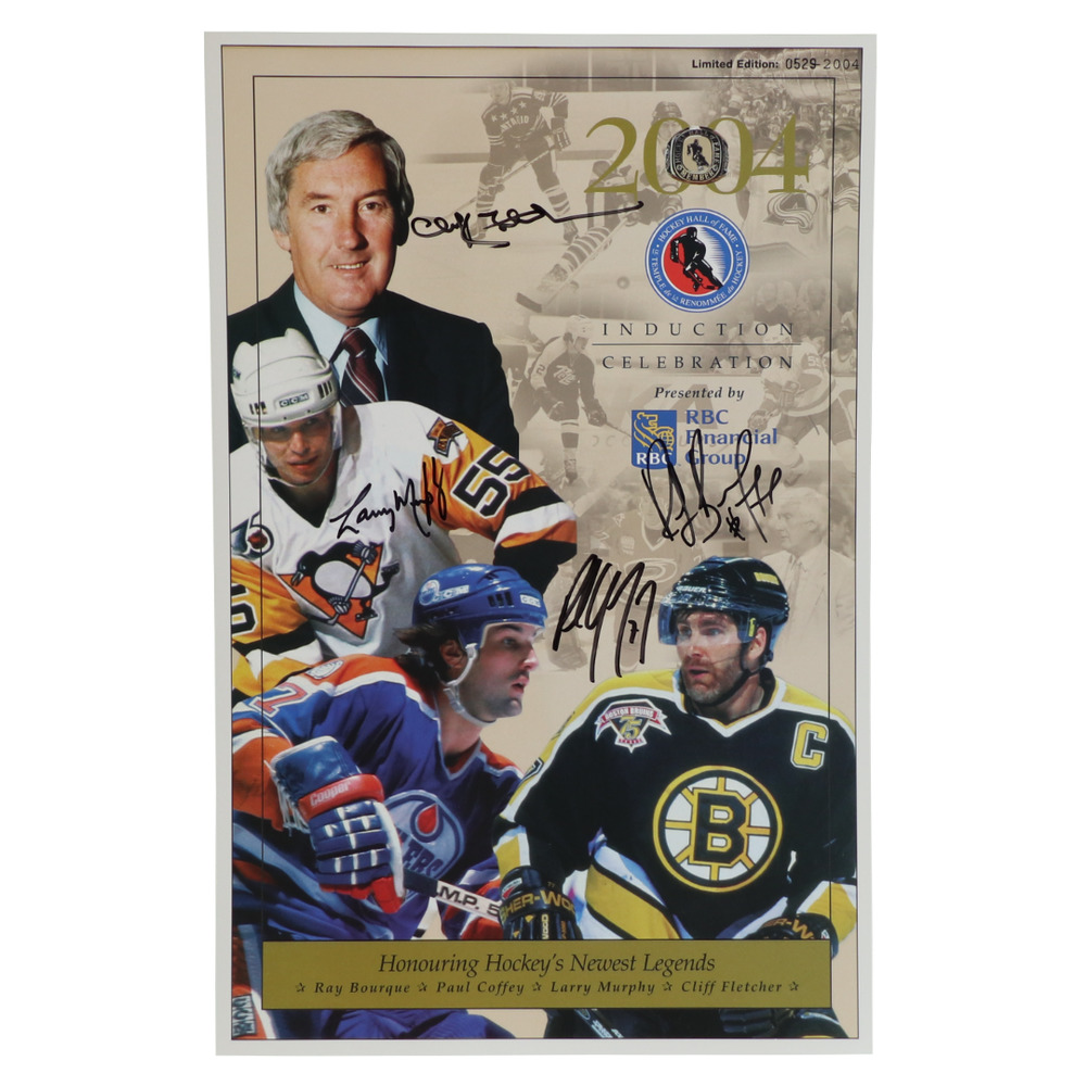 Bourque, Coffey, Murphy, Fletcher - Class of 2004 Induction Signed Framed Poster - Limited Edition