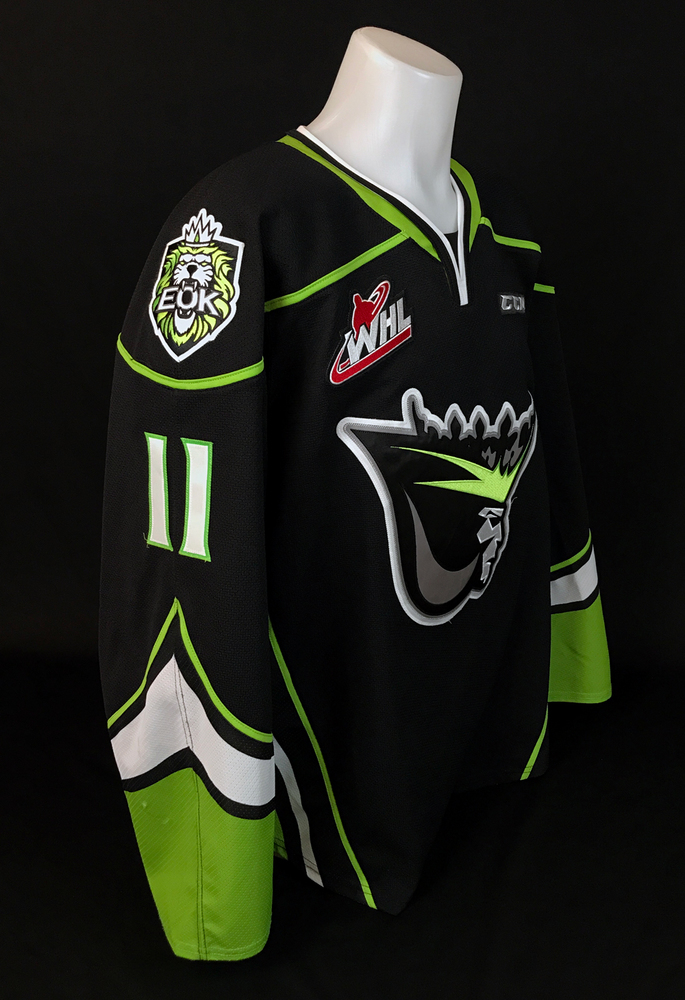Dylan Guenther #11 - Autographed 2019-20 Edmonton Oil Kings Game-Worn Black Alternate Jersey