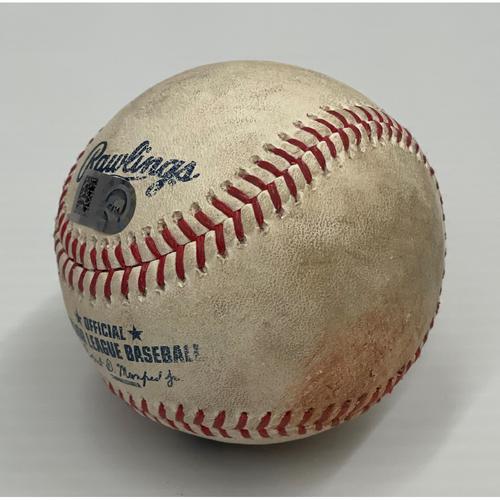 Photo of Game Used Baseball 7/9/2021 Royals at Indians - James Karinchak strikes out Salvador Perez; next at bat is Carlos Santana, Fly out