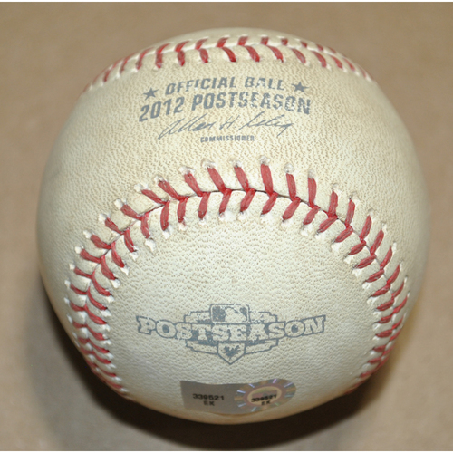 Photo of Game-Used Baseball - 2012 NLCS Game 3 - San Francisco Giants vs. St. Louis Cardinals - Batter: Brandon Crawford, Pitcher: Kyle Lohse, Ball in Dirt, Top 6