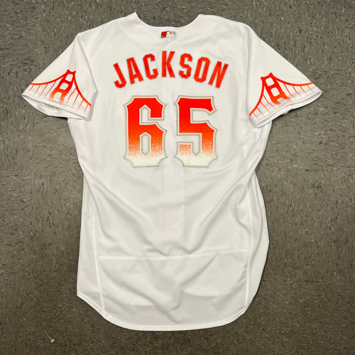 Photo of 2021 Game Used City Connect Jersey worn by #65 Jay Jackson on 9/14 vs. SD - Size 46