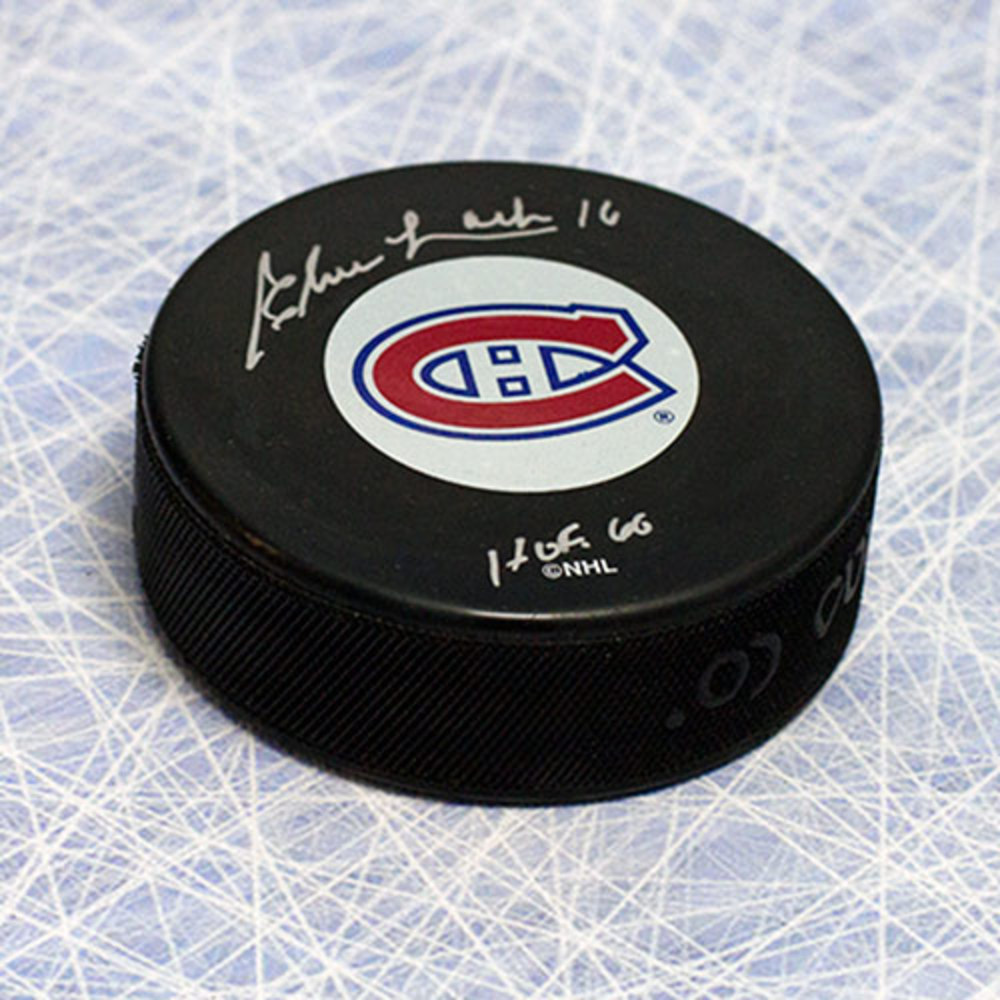 Elmer Lach Montreal Canadiens Autographed Hockey Puck with HOF Inscription
