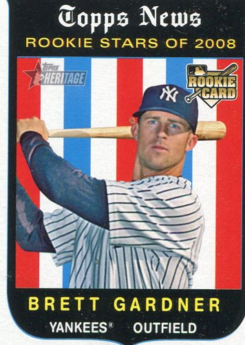 Photo of 2008 Topps Heritage #654 Brett Gardner Rookie Card