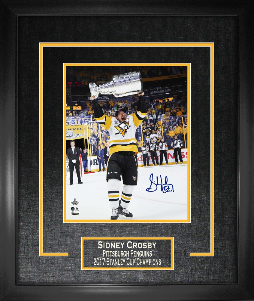 Sidney Crosby - Signed 16x20 Etched Mat Penguins 2017 Raising Cup