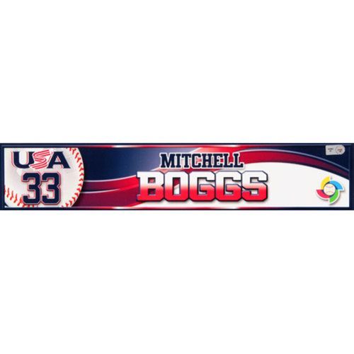2013 WBC: USA Game-Used Locker Name Plate - #33 Mitchell Boggs