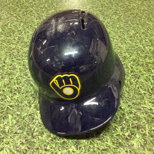 Photo of Michael Blazek 2016 Navy Ball&Glove Logo Batting Helmet