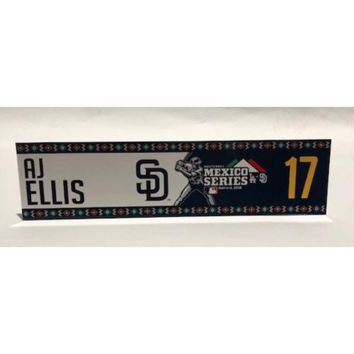 Photo of 2018 Mexico Series - AJ Ellis Game-Used Locker Tag