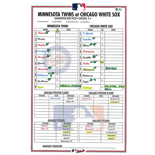 Photo of 2019 Minnesota Twins Game-Used Lineup Card (September) - PRESALE: Choose your Game Date!